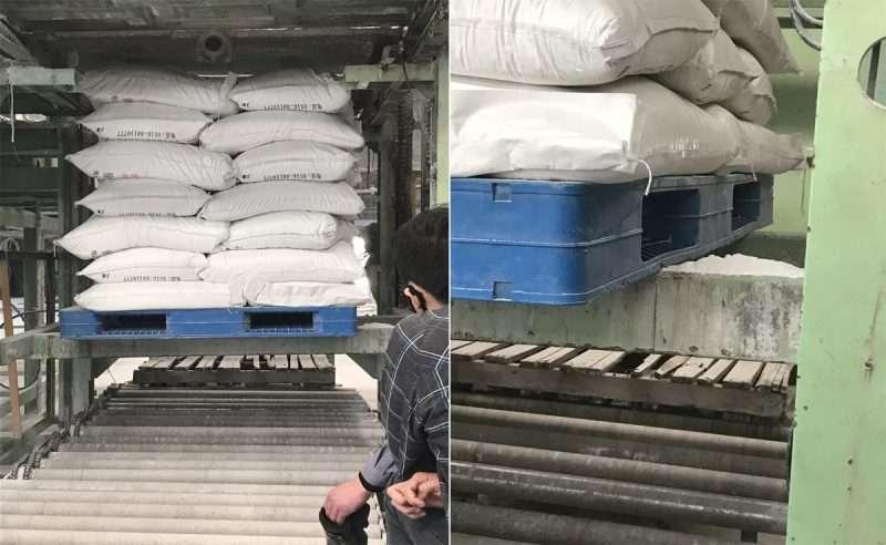 Large plastic pallets for flour and salt