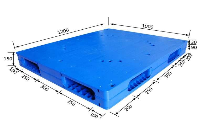1200x1000 mm flat plastic pallets reversible