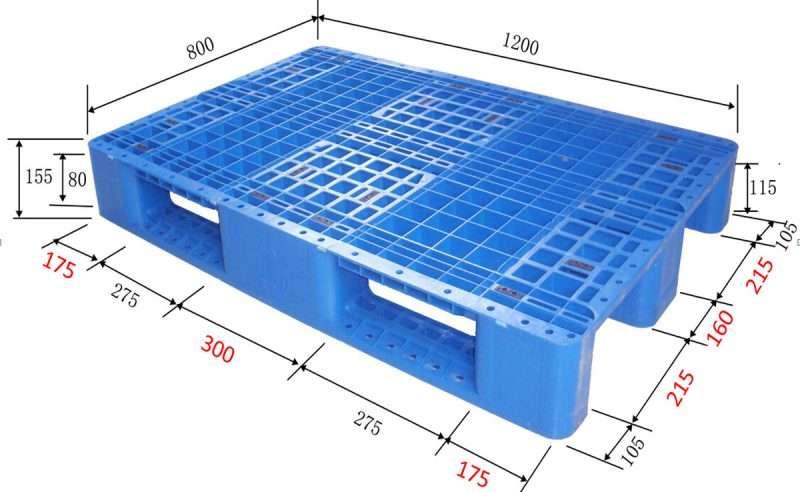 Euro rack able plastic pallets with dimension on