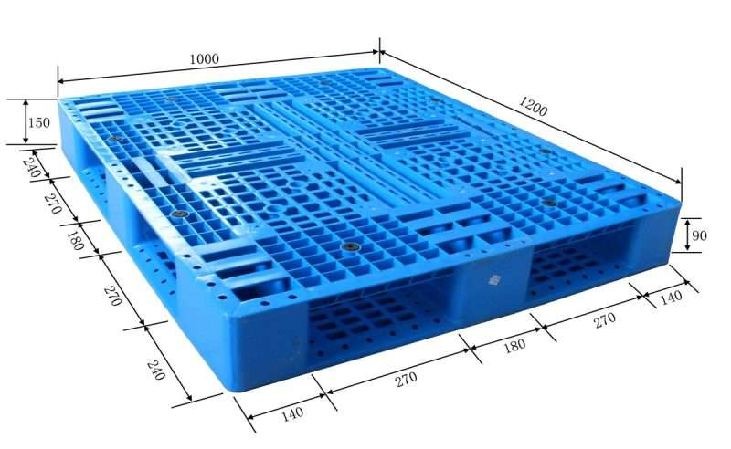 Full perimeter base plastic pallets in dimension 1200x1000x150 mm