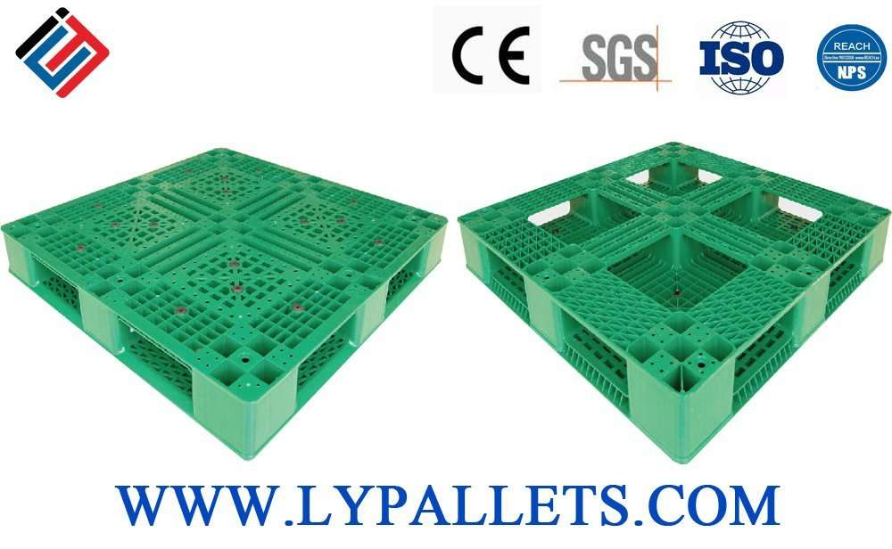 Green color plastic pallets for double deep racking systems