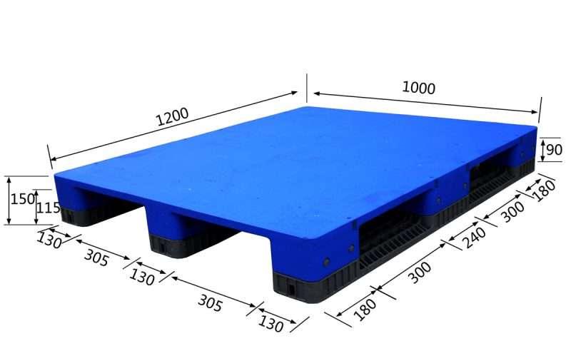 Flat plastic pallets 1200x1000x150mm