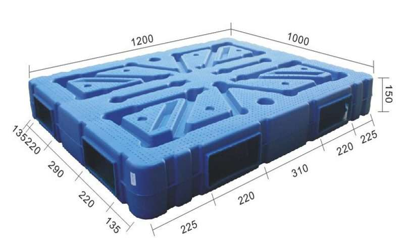 1200x1000 plastic pallets with 2 way entry