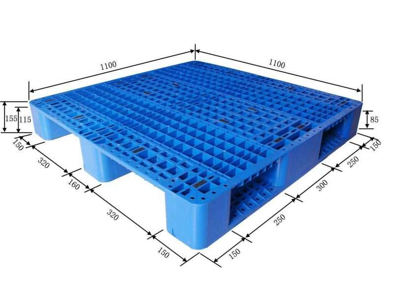 Three Skids grid plastic pallets 1100x1100