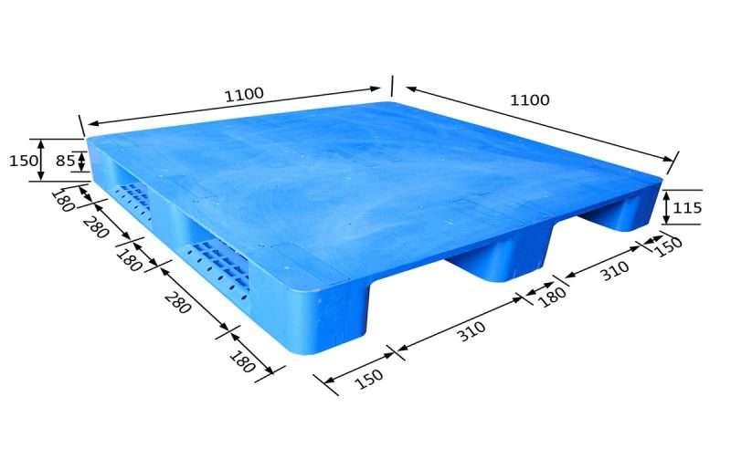 Blue flat plastic pallets 1100x1100 mm