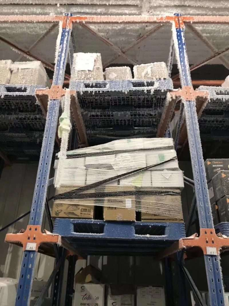 Plastic pallets in cold warehouse storage