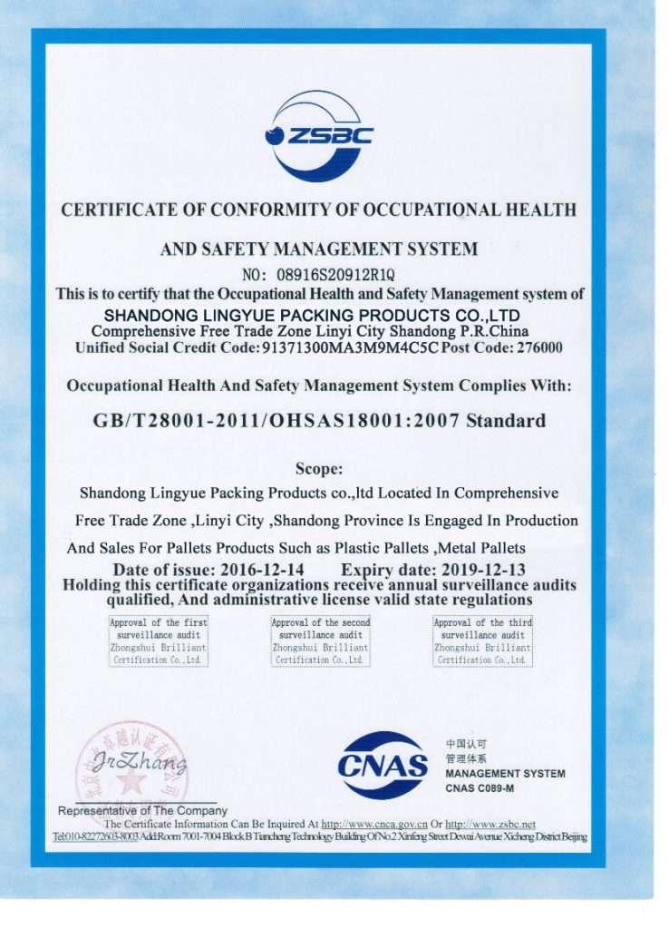 OHSAS 18001 factory plastic pallets