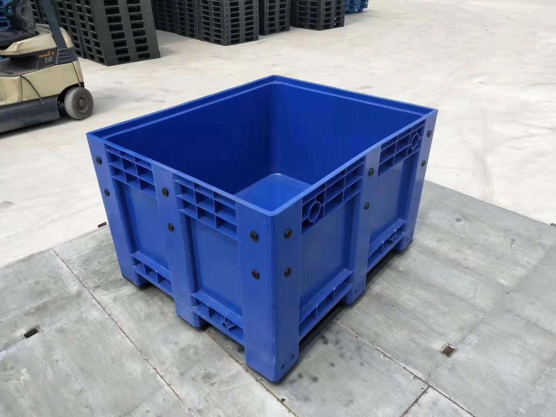 Blue color plastic pallet box